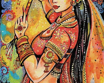 Indian dancer, belly dance, Bollywood dance, dancing woman, Indian woman, magic of dance, feminine decor, beauty painting print 8x11+