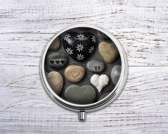 Love Stone, Pill Box Case Trinket Box Vitamin Holder Medicine Box Mint Tin Gifts For Her