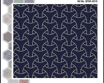 Sashiko Kit Indigo Quilt Kit, Pillow Kit, Maru Bishamon Pattern, Japanese Instructional Kit QFSK-2015