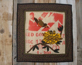 Nesting Bird Felted Wool, Cotton and Burlap Penny Rug Table Runner or Wall Hanging