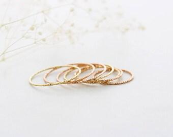 14K solid gold ring/Dainty gold ring / Thin gold ring / Minimalist ring / 14K rose gold ring/ Stacking ring/ 10 finger layered ring/ Rings