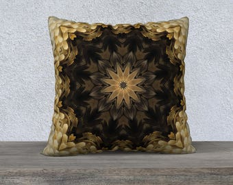 Beige Brown Square Pillow Case 22 x 22