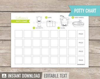Potty Training Chart - Toddler Rewards Chart - INSTANT DOWNLOAD - Printable PDF with Editable Text