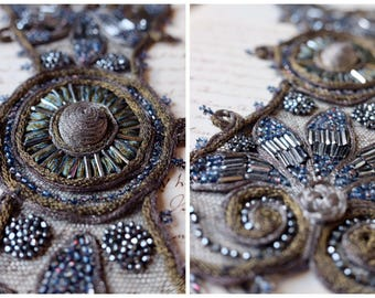 1800 gold bronze, silver metallic bugle bead dress embellishment, glass seed bead, silk tulle, handmade, costume design, vintage millinery