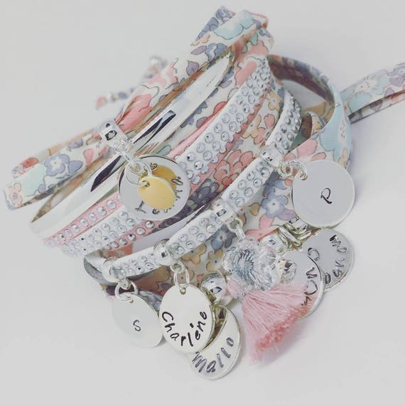 Grigri MOM Liberty of London - Bracelet Liberty with 2 custom ENGRAVINGS
