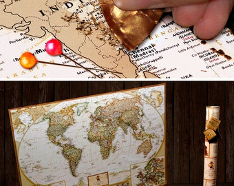 "Push Pin Travel Map - Scratch Off World Map Wall Poster with Push Pins 34.6"" x 25.2"""