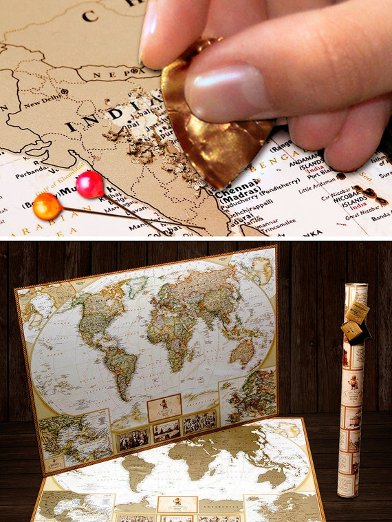 push pin travel map scratch world map wall poster with push