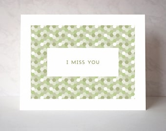 I Miss You Vintage-Inspired Greeting Card - Hex Series