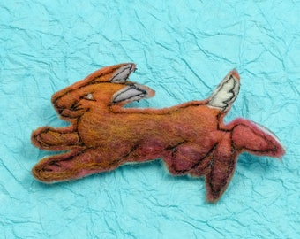 Original textile art handmade Merino wool felt brooch Running HARE  reddish-brown in colour  (BRHARE)