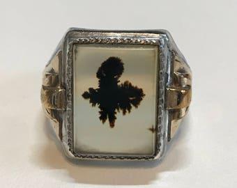 1930's Ostby Barton Art Deco 10k gf & Sterling Mocha Agate Ring Sz 11.5