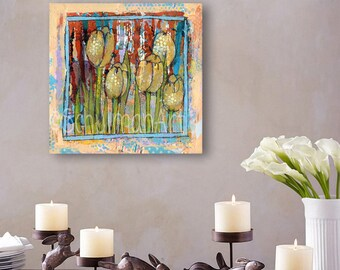 ORIGINAL Abstract Floral art | mixed media collage painting | Watching Tulips | floral decor