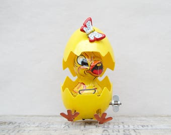 Vintage Easter Tin & Plastic  Wind Up . Chick In Egg . Breaking Egg . Hopping Chick . Japan