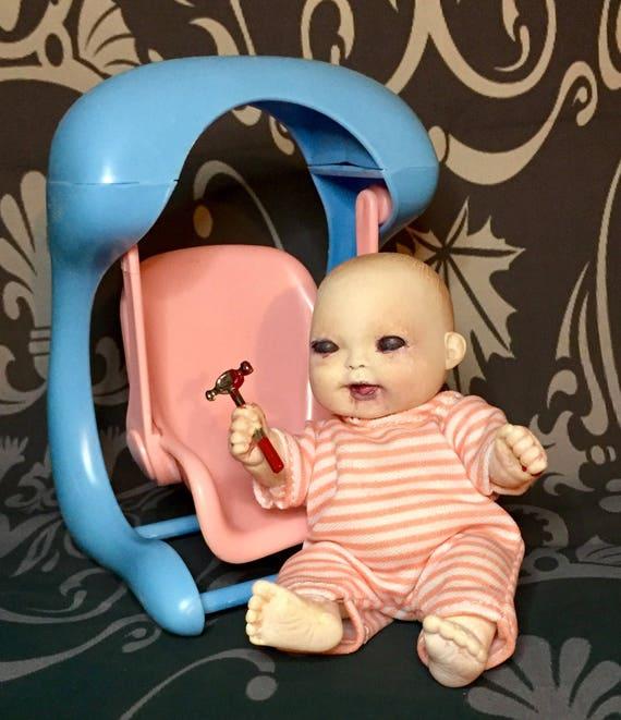 Mini Biohazard Baby Zombie Swing & A Hammer Undead Black Eyed Kid Gift Set Original Biohazard Baby