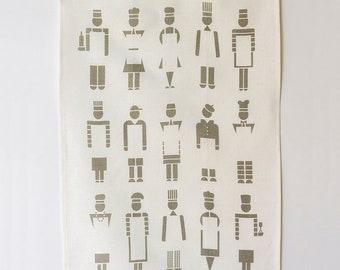 Linen Tea Towel - Too Many Cooks - Slate