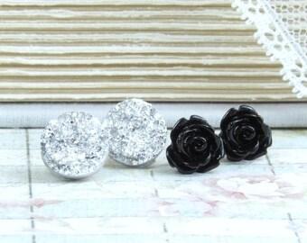 Stud Earring Set Druzy Stud Earrings Black Rose Studs Silver Druzy Studs Hypoallergenic Set Of 2