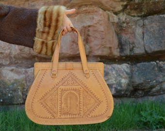 Vintage Moroccan Handmade Tooled Tan Leather Purse Bag