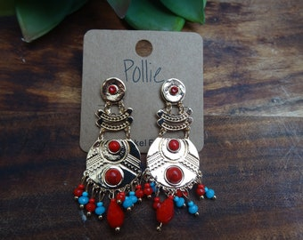 blue and red gold multi-drop earrings
