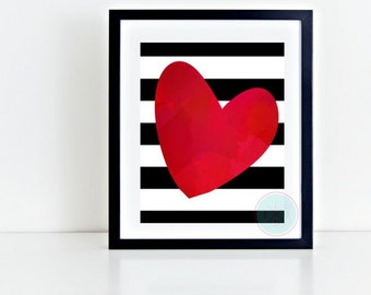PRINTABLE ART Scandinavian Watercolor Sweetheart Black Red Striped Heart Girl's Room New Baby Nursery Art Abstract Printable Decor Wall Art