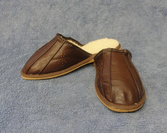 New Men's Natural Brown Leather/ Sheep's Wool Slippers/ Mules