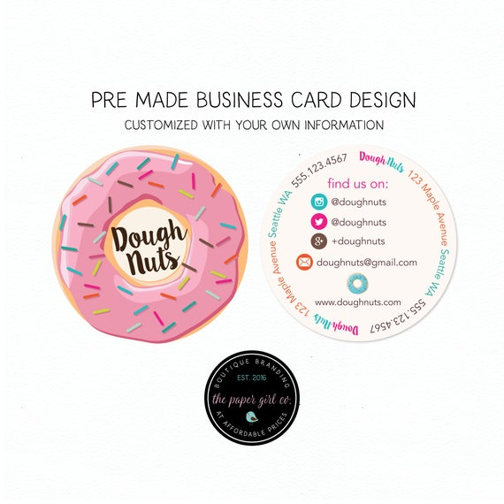 Doughnut business card round business cards bakery round colourmoves