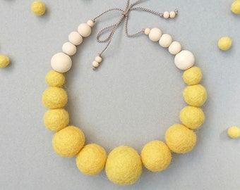 Felt Ball Necklace with Wooden Beads // Yellow // FREE gift box