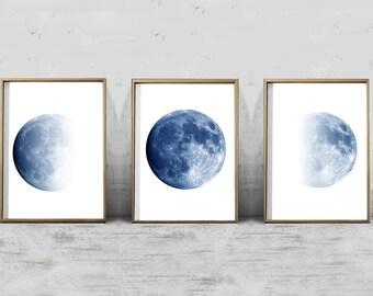 Moon Art Prints Set Blue Wall Phases Lunar Posters Of 3 Digital
