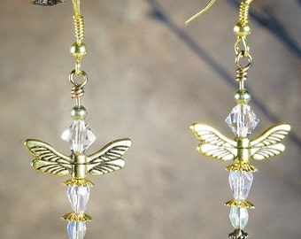 Earrings, Clear and Light Pink Crystals with Gold Tone Metal Wings and Spacers on Nichol Free Ear Wires, Dragon Fly Earrings