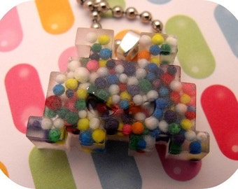 CLEARANCE Space Invaders - Resin Sprinkle Necklace