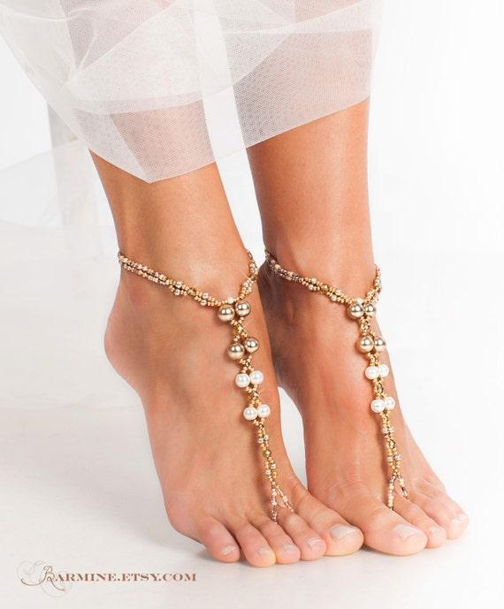 Champagne Gold Bridal barefoot sandals Beach wedding foot