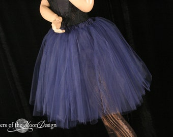 Tutu Tulle skirt Adult Navy Romance poofy knee length dance bridal petticoat wedding bridesmaid -You Choose Size- Sisters Of the Moon