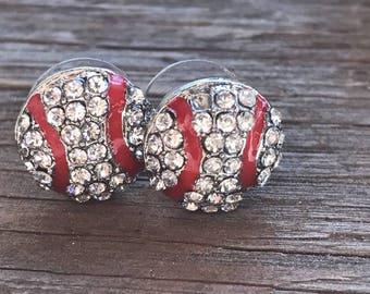 Rhinestone Baseball Earrings Pierced Baseball Mom Bling Baseball Life
