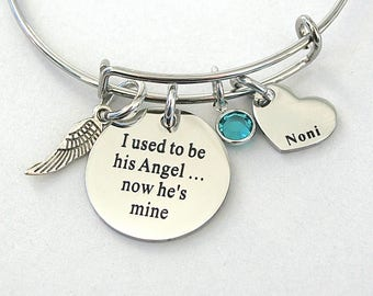 "I Used To Be His Angel Now He's Mine "", Heart Charm Dad- Papa or Noni ,Loss Of Loved One , Angel Wing, Remembrance, Daughter , Bereavement"