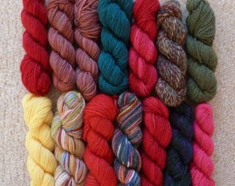 Sock Yarn Mini Skeins - 10 Grams Each, 12 Colorways - Set #1