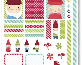Gnomes Decorating Kit / Weekly Spread Planner Stickers for Erin Condren Planner, Filofax, Plum Paper
