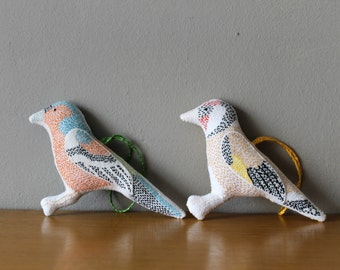 Embroidered Bird Plushies Wall Hanging