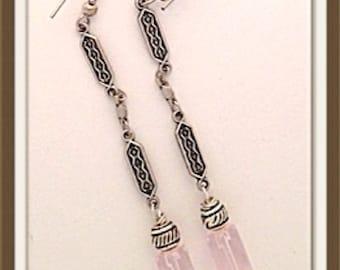Handmade MWL pink and silver long dangle earrings. 0074