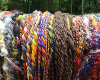 Handspun yarn package. One plus pound of textured yarn, soft and bulky, Flock package