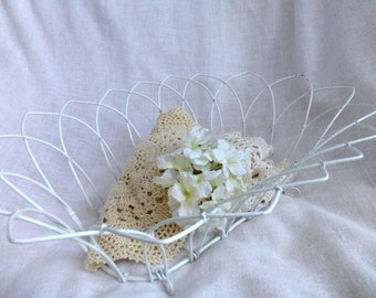 French Country Wire Basket - Vintage Shabby White Large Basket - Garden, Kitchen, Bathroom, Nursery, Cottage Country,Shabby Decor Container