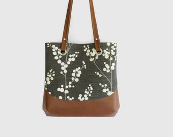 Canvas tote bag/canvas handbag/canvas with faux leather bag/gift for women/shoulder bag/bag with grommets/gray floral bag