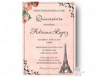 Shabby Chic Quinceanera Invitation Printable Paris