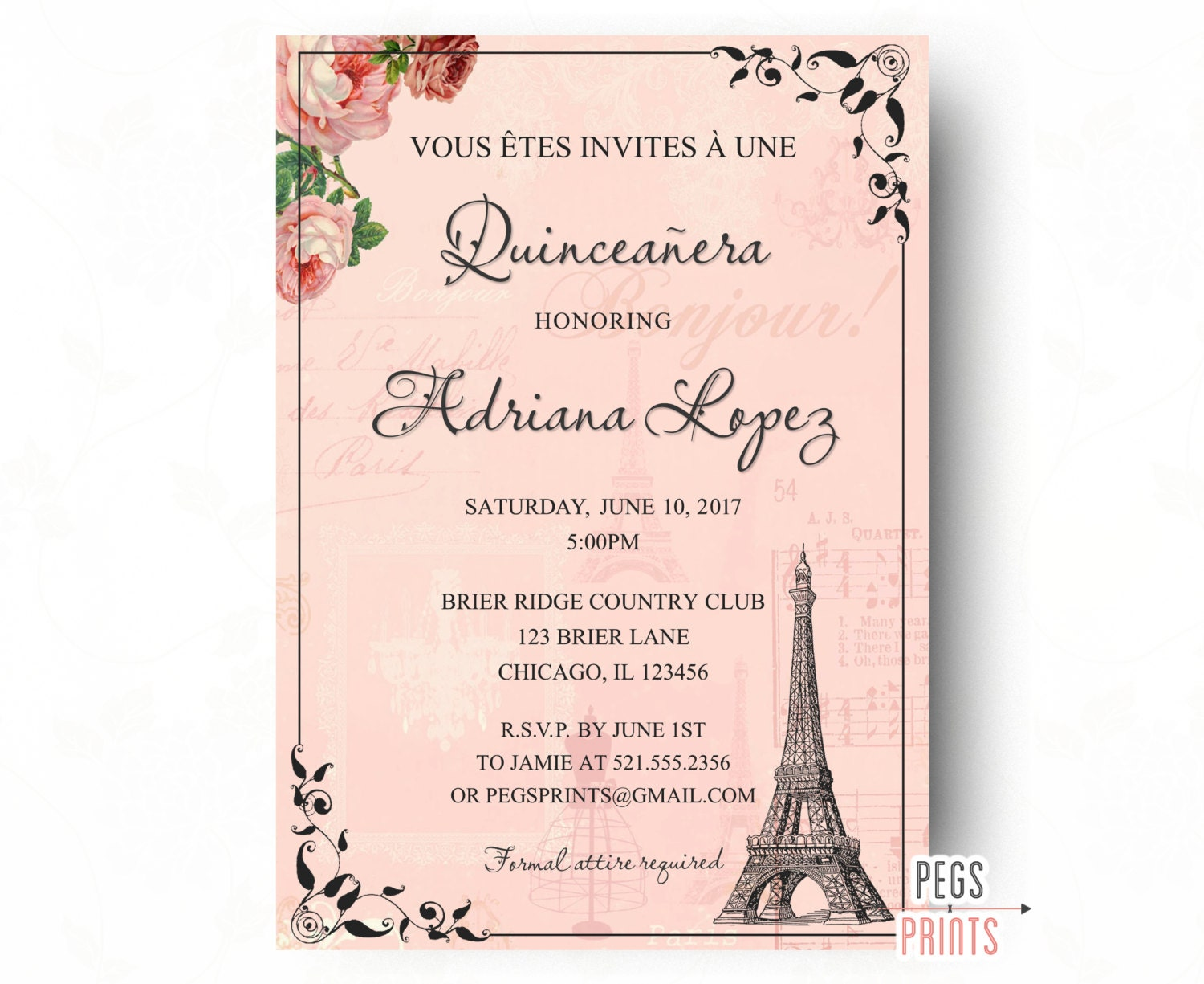 Paris Quinceanera Invitation Quinceanera Invitation