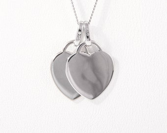 Double Heart Charm Necklace in Sterling Silver - Engraved Gift - Engraved Heart Charm - Twin Heart Pendant