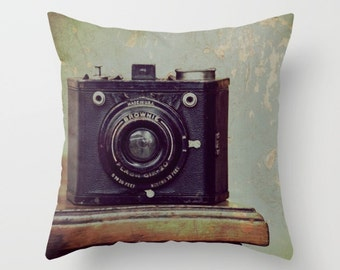 Throw Pillow Case, Vintage Camera, Home Decor, Photography by RDelean Designs