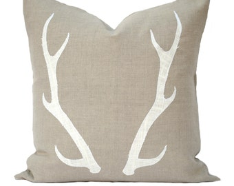 One Antler Christmas Pillow covers, holiday pillow, decorative pillow, cushion, Christmas decoration, Tan Pillow, Antlers, Reindeer Pillow