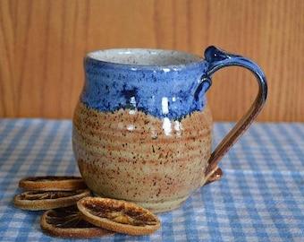 Drinking mug, mug, coffee mug, coffee cup, tea cup, pottery mug, brown pottery, blue mug, drinkware, soup mug
