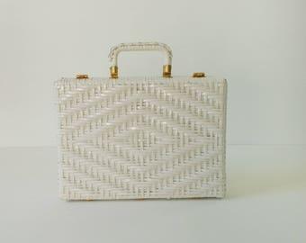 vintage 1950s wicker briefcase   vintage Lesco Lona handbag   1950s plastic wicker handbag   white wicker handbag
