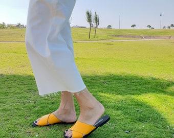 Leather Sandals, Leather Slides, Sandals Women, Yellow Sandals, Leather Shoes, Slip On Sandal, Flat Sandal, Slide Sandal, Criss Cross Sandal
