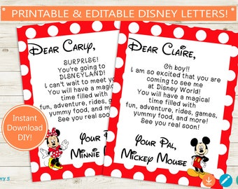 Disney Trip Reveal Letters // Adobe Reader Editable PDF // Disney World, Disneyland, Mickey Mouse, Minnie, note, personalized, printable DIY