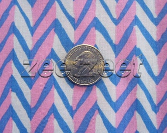 Kaffe Fassett HERRINGBONE STRIPE White Blue Pink Quilt Fabric - by the Yard, Half Yard, or Fat Quarter Brandon Mably - Out of Print - Rare