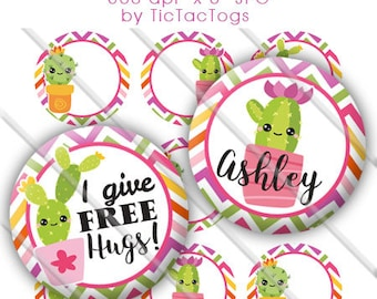 Editable Cactus Cutie Chevron Bottle Cap Images Digital Set 1 Inch Circle 4x6 JPEG - Instant Download - BC593